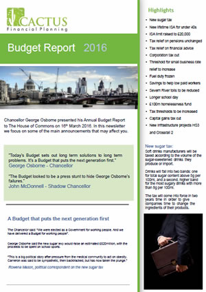 Budget Report 2016 for Cactus Financial
