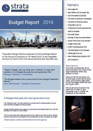 Budget Report 2016 for Strata Financial ltd