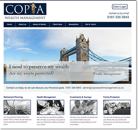 Website Template Designed by IFA Web Pro for Copia Wealth Management