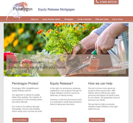 Pendragon Equity Release - Mortgage and Protection Website Design