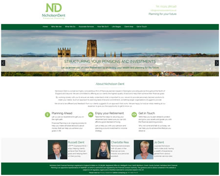 Financial Adviser website for Nicholson Dent IFA