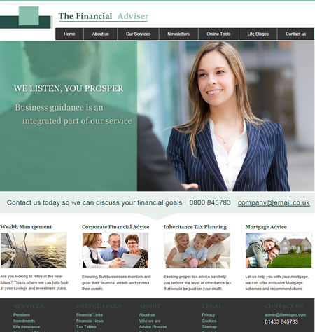 professional IFA website design The financial adviser