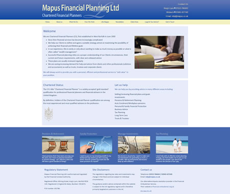 Financial Website Design - Mapus Financial Planning Ltd